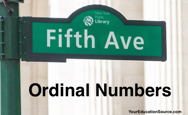 Ordinal Numbers YourEducationSource.com
