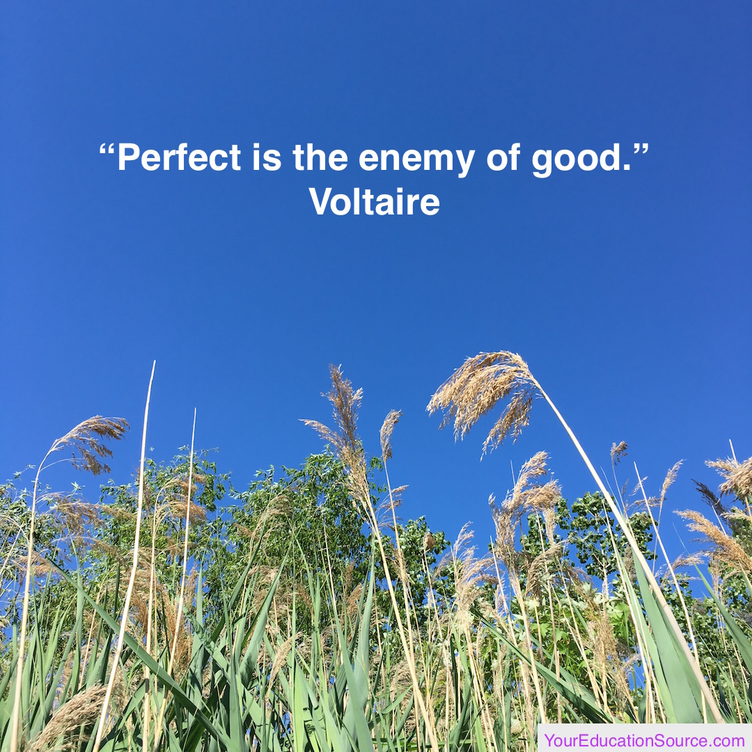 Perfect is the enemy of good Voltaire Your Education Source