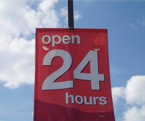 The number 24 outdoor sign